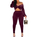 Chic Twist Front Hooded Long Sleeve Top Skinny Fit Pants Velvet Purple Co-ords