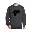 Men's Cartoon SUMMER COMING Letter Printed Crewneck Long Sleeve Casual Sweatshirt