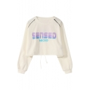 SENSED NICED Letter Print Round Neck Long Sleeve Loose Casual Cropped Sweatshirt