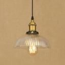 Swirl Glass Dome Mini Pendant Lamp Loft Style 1 Light Suspension Light in Black/Brass for Restaurant
