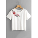 Hot Fashion Floral Embroidered Round Neck Short Sleeve White T-Shirt