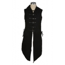 Vintage Middle Age Chic Leather Button Front Stand Collar Sleeveless Black Vest