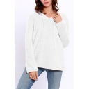 Winter's Basic Solid Long Sleeve V-Neck Loose Fitted Warm Shearling Hoodie for Women