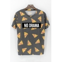 Letter NO DRANA All Over Pizza Print Round Neck Short Sleeve Gray T-Shirt