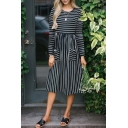 Classic Long Sleeve Striped Pattern Round Neck Elastic Wist Midi T-Shirt Dress with Pockets
