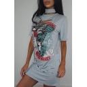 Choker Neck Short Sleeve Cut Out Printed Casual Leisure Mini T-Shirt Dress