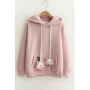 Cartoon Cat Printed Pocket Long Sleeve Winter's Fashion Hoodie