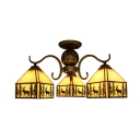 Lodge Style 3/5-Bulb Elk Pattern Chandelier Ceiling Light with Stained Glass Square Shades