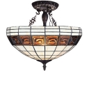 Traditional 2-Light Simple Bowl Shade Inverted Ceiling Pendant Light with Bronze Finish Canopy and Chains