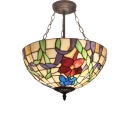Multicolored Flower Motif Triple-Light Inverted Ceiling Pendant Light in Bronze Finish