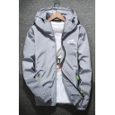 Autumn New Fashion Long Sleeve Letter Printed Hooded Zip Front Jacket