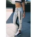 Stylish Zip Embellished Drawstring Waist Color Block Gray Sports Pants