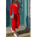 Casual Leisure Long Sleeve Button Front V Neck Solid Wide Legs Jumpsuits