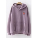 Simple Heart Patched Long Sleeve Peach Embroidered Regular Hoodie