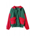 Classic Red and Green Color Block Long Sleeve Hooded Zip Up Corduroy Coat with Pockets