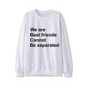 Stylish Letter Printed Crew Neck Long Sleeve Regular Leisure Sweatshirt