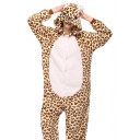 Unisex Coral Fleece Leopard Cosplay Carnival Onesie Pajamas for Adult