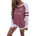 Trendy Color Block Cartoon Cat Printed Long Sleeve Round Neck Loose Leisure T-Shirt