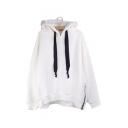 Winter's Long Sleeve Fashion Zip Embellished Side Loose Leisure Hoodie