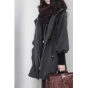 Women's Winter Long Sleeve Hooded Drawstring Waist Dark Gray Cashmere Coat