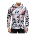 Unique Graffiti Camouflage Printed Long Sleeve White Fitted Hoodie