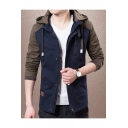 Men's Trendy Colorblock Long Sleeve Hooded Zip Up Slim Fitted Jacket