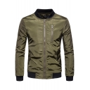 Trendy Contrast Hem Long Sleeve Slim Fitted Zip Up Bomber Jacket for Men
