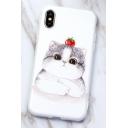 Girls' Cute Apple Cartoon Cat Printed White iPhone Case