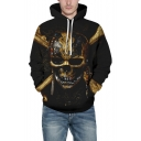 Trendy 3D Skull Pattern Long Sleeve Casual Sports Black Hoodie