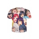 Fashion Ahegao 3D Cartoon Character Pattern Crewneck Short Sleeve T-Shirt