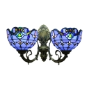 Blue&White Baroque Tiffany-Style 2 Light Inverted Stained Glass Shade Sconce
