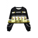 Funny Cartoon Character Printed Long Sleeve Round Neck Cropped Black Sweatshirt