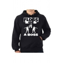 Letter FLOSS LIKE A BOSS Printed Long Sleeve Black Regular Hoodie