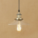 Clear Glass Hanging Pendant 1 Light Saucer Shade in Industrial Style for Hallway Cafe Restaurant
