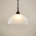 Ceiling Pendant Single Lighting with White Semi-Circle Shade in Black for Living Room