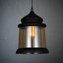 One Light Hanging Pendant with Amber Glass Vintage Style in Black (2 Designs for Choice)