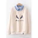 Chic Lapel Collar Patched Deer Horn Letter STAND BY ME Embroidered Long Sleeve Beige Sweatshirt