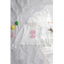 Popular Milk Pattern Leisure Bell Sleeve Drawstring Hoodie for Girls