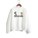 Cute Cartoon Character Pattern Mock Neck Long Sleeve Fitted Sweatshirt