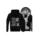 Winter's Warm Color Block Long Sleeve Wolf Letter Print Back Zip Up Hooded Coat