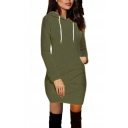 Women's New Stylish Long Sleeve Basic Solid Mini Bodycon Hoodie Dress