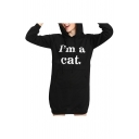 Women's Stylish Letter I'M A CAT Printed Long Sleeve Mini Shift Ear Hoodie Dress