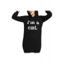 Women's Stylish Letter I'M A CAT Printed Long Sleeve Mini Shift Ear Hoodie Dress