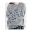 Girl's Leisure Letter SORRY I AM NOT Printed Long Sleeve Crewneck Gray Sweatshirt