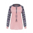 Unique Long Sleeve Colorblock Geometric Printed Turtleneck Drawstring Sweatshirt