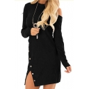 Chic Long Sleeve Mock Neck Hollow Out Back Button Side Plain Kit Dress