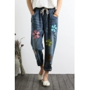 Trendy Floral Embroidered Elastic Drawstring Waist Casual Jeans