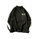 Letter MON Printed Colorblock Long Sleeve Crewneck Pullover Sweatshirt