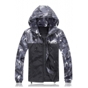 Men's Autumn Stylish Colorblock Camouflage Pattern Long Sleeve Hooded Zip Up Jacke