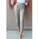 Unique Button Embellished Solid Skinny Fitted Corduroy Pants for Women